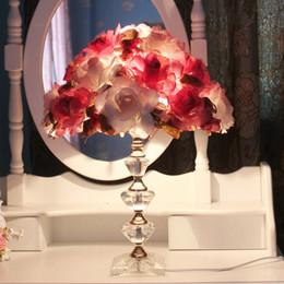 $enCountryForm.capitalKeyWord Australia - American Table Lamp Beauty Parlor Wedding Decoration Desk lamp Living room Tea Crystal Table Lamp Bedroom Bedside Flower Table Light