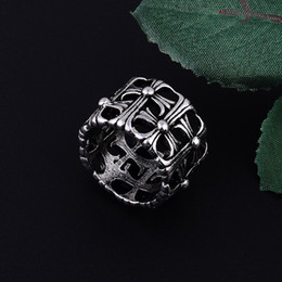 Vintage Cz Cluster Ring NZ - whole saleRings Men's Titanium Steel Personality Hollow Cross Star Punk Stainless steel CZ Stone Non-mainstream Vintage ARMY Rings R00002