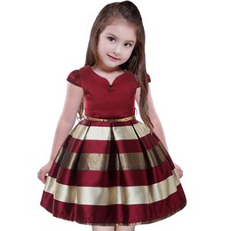 6eda0c41d742 Summer Burgundy Stripes Girls Party Dresses for Kids Tween Blue Tutu  Princess Formal Smocked Dress Teenagers Clothes Size 6 8 10 years old