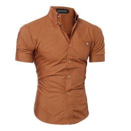 Mens Blue Hawaiian Shirt Canada - Men Shirt Luxury Brand Male Short Sleeve Hawaiian Shirts Casual Metal Buckle Hit Color Slim Fit Black Mens Dress Shirts