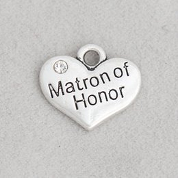 Charms Honor NZ - Wholesale Alloy Matron Of Honor Heart Charms For Wedding Bridal Jewelry Making 15*17mm AAC1914