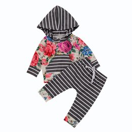 $enCountryForm.capitalKeyWord Australia - 2Pcs Newborn Baby Girls Floral Long Sleeves Hooded T-shirt Tops Hoodie +Striped Pants Outfits Set Clothes