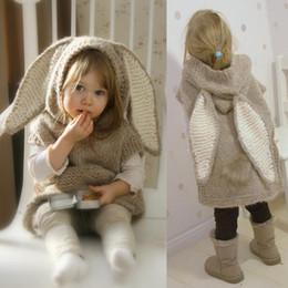 Wool Clothing Children Canada - Baby girls Rabbit long ears Hooded dress children Wool knitting cartoon dress winter fashion kids Clothing Outwear hot sell