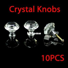 crystal cabinets 2019 - K9 Diamond Cabinet Crystal Knobs Door Handles Zinc Alloy base (clear Crystal diamond) 30mm 10pcs lot cheap crystal cabin