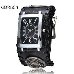 Wholesale Retro Gothic Rock Style Punk Wrist watch mens Black Leather Wolf Bracelet Quartz Mens Watch Gifts Relogio Masculino