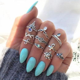 $enCountryForm.capitalKeyWord Canada - Punk Cross Turtle Leaves Starfish Geometric Irregular Crystal Ring Set Lady Cang Wing Fashion Jewelry Valentine's Gift