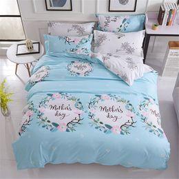 $enCountryForm.capitalKeyWord Canada - Fashion flower Letter fresh style blue bedding sets duvet cover white flat sheet pillowcase 4pcs girls gift home textie