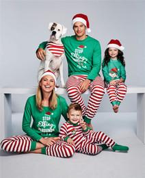Wholesale unisex long underwear for sale – plus size XMAS Christmas pajamas family matching clothes children pajamas girls boys underwear toddler kids red green stripe sleepwear baby nightwear