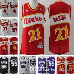 1ba967e59 Men Atlanta Hawks Jerseys 21 Dominique Wilkins 4 Spud Webb Sacramento Kings   55 Jason Williams Basketball Jerseys affordable williams basketball