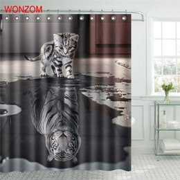 Polyester Fabric Tiger Cat Shower Curtain Orangutan Bathroom Decor Waterproof Cortina De Bano With 12 Hooks Gift