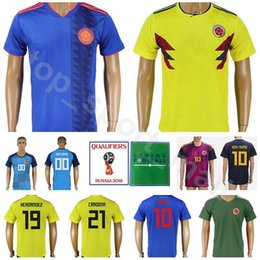 Colombia 2018 World Cup Soccer Jersey Men 19 GUTIERREZ 10 VALDERRAMA 11  Asprilla 21 CARDONA 4 ARIAS Football Shirt Kits Custom Name Number 47f5fabde