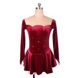 0e87da1a2 Vestido de patinaje artístico de tela de terciopelo morado vino rojo vestido  de patinaje sobre hielo simple y manga larga de las señoras y las niñas