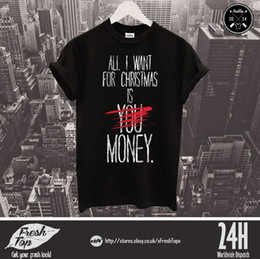 09088dd3 All I Want For Christmas Is Money T Shirt Cash Girl Boy Husband Wife Wifey  Gift