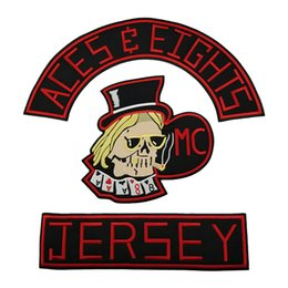 Bikers Back Patches Australia - ACES & EIGHTS JERSEY Embroidery Patch for Clothing Full Back Large Pattern Motorcycle Club For Rocker Biker Punk MC Patches Free Shipping
