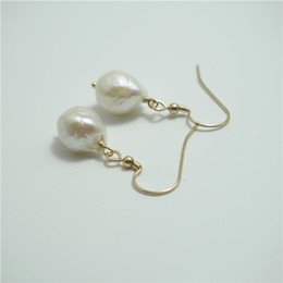 14k Gold Filled Pearl Australia - Handmade Handcrafted Fresh Water Baroque Pearl Charm Earrings 14K Gold Filled Fashion Women Jewelry European Style