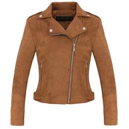 Wholesale lining soft jacket for sale – winter New Fashion Women suede motorcycle jacket Slim brown full lined soft faux Leather female coat veste femme cuir epaulet zipper