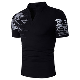 Chinese  New Summer Mens Large Size T Shirt Stand Collar Printing Short Sleeve Slim  Shirt for male manufacturers