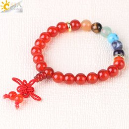 chinese red bracelet NZ - CSJA Chinese Knot Bracelet Natural Gemstone Beaded Jewelry 7 Chakra Reiki Meditation Beads Jewellery for Men & Women Any Wrist Size F521