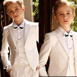 silver kids tuxedo 2019 - Custom Made White Three Pieces Boy's Formal Wear Notched Lapel Two Buttons Kid Tuxedo for Wedding cheap silver kids