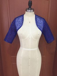 Make Half Sleeve Jacket NZ - Sparkly Sequins Tulle Royal Blue Bridal Jacket Modest Party Accessaries with Half Sleeves Custom Made Red Navy Blue Blush Purple Bolero