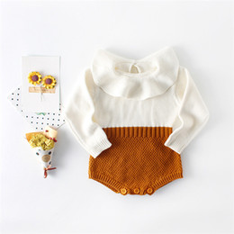 wholesale ruffled sweater Canada - Everweekend Baby Girls Knitted Sweater Rompers Ruffles Neckline Candy Color Patchwork Sweet Toddler Baby Kids Autumn Clothing B11
