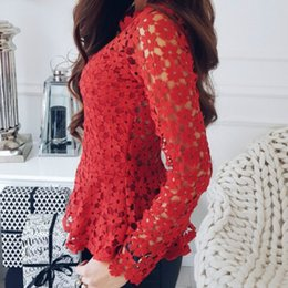 4e1b085e32c9dd 2018 Blouses Sexy Lady Shirts Spring Summer Floral Crochet Lace Shirt Long Sleeve  Women Cut Out Lace Blusas Peplum Top 2XL GV469