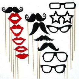 $enCountryForm.capitalKeyWord Australia - Christmas Lips Glasses 15PCS Photo Booth Props Party Decoration Mask Mustache Stick for Fun Favor photobooth wedding brithday party