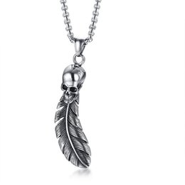 "Men Pendant Feather NZ - Punk Skull Feather Pendant For Men Necklace Stainless Steel Rocky Hip Hop Skeleton Male Jewelry 24"" Box Chain Cool Bijoux"