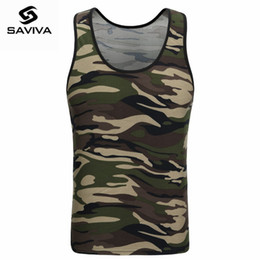 Wholesale high neck tank top men resale online - SAVIVA Men Tank Top Cotton High Quality O neck Striped Tee Camo Army Green Sleeveless for Camouflage Tank Tops
