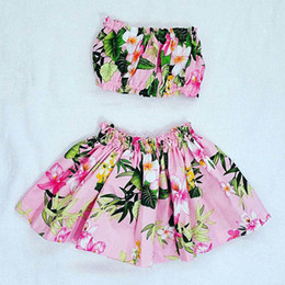 Cute 3t girl Clothing online shopping - Girls floral beach clothing pc sets boob tube top flower skirt T baby toddlers cute beach clothes