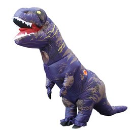 inflatable adults halloween costumes UK - Adult T-REX Inflatable Costume Party Mascot Purple White Dinosaur Animal Jumpsuit Halloween for Women Men LJ-007