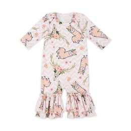 0f05722cb0e9 Newest Style Baby Girl Ruffles Romper Flower Printing Boutique Kids Long  Sleeve Romper Three Colors 0-6t