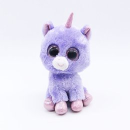 "Chinese  SELLWORLDER Ty Beanie Boos Big Eyes 6"" 15cm Purple Plush Animal Stuffed Dolls Toys for Girls manufacturers"
