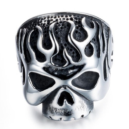 Rings Flaming NZ - Hot Sale European and American Retro Ring Stainless Steel New Fashion Flame Skull Ring Free shipping