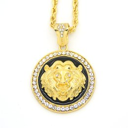 gold chain necklace lion pendant UK - Hot Bling Bling Hip Hop Style Lion Head Lion King Pendant boy Necklace Animal Charm Men Jewelry