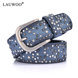 aff3695b3b PU+Genuine Leather Rivet Inlay stars Belt For Women Fashion Pin Buckle  Waist Women Belts Luxury Brands Leather Belt Female