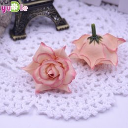 White floWer brooches online shopping - 200pcs Roses Artificial Silk Rose Head Wedding Decoration Diy Jewelry Brooch Headdress Real Touch Artificial Flowers Roses