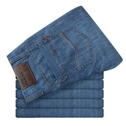 China Big Size 50 52 Summer Casual Mens Thin Jeans 100% Cotton Male Denim Pants Overalls Baggy Men Blue Classic Jean Trousers supplier mens thin summer trousers casual suppliers