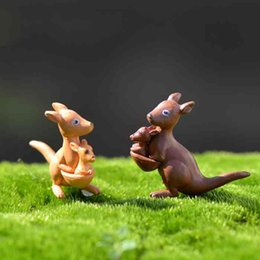 cartoon kangaroos NZ - Mini Cute Kangaroo Ornament Figurine Cartoon Doll Toy Kids Gift Moss Terrarium Micro Landscape Accessories Fairy Garden DIY Decoration