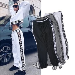 $enCountryForm.capitalKeyWord Canada - Sexy Lace Up Hollow Out Casual Loose Pants Women Patchwork Color Block Drawstring Harem Pants Hip Hop Trousers Black White