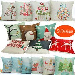 54 Car Australia - Xmas Pillow Case Christmas Snowflake Reindeer Pillowcase Linen Cushion cover Home Sofa Car Decor Without core 54 Style 25PCS