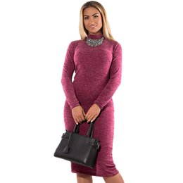 2c0e48713bf Women Turtleneck Bodycon Dress Long Sleeve Sheath Midi Dress Stretchy 4XL  5XL 6XL Plus Size Pencil Dress Vestidos Feminino 2019