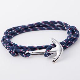 StyliSh men bracelet online shopping - Stylish Silver color Anchor Charm Bracelets Bangles For Men Women Hot Handmade Rope Bangle multilayer Anchor Bracelet wholesales