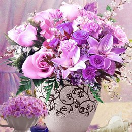 Discount diy diamond painting roses - Diamond studded home decor diamond embroidery, launched in 2017 with a new 5D DIY diamond painting purple rose vase
