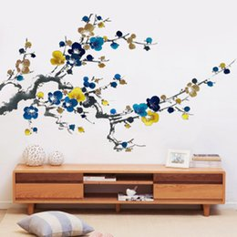 $enCountryForm.capitalKeyWord Canada - Chinese Style Ink Painting Plum Blossom Flowers Wall Stickers Living Room Bedroom Wall Mural Poster Art Home Decoration Wall Decals Paper