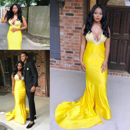 $enCountryForm.capitalKeyWord Australia - Bright Yellow Mermaid Prom Dresses South African Sexy Deep V Neck Evening Gowns With Lace Appliques Sweep Train Women Formal Wear