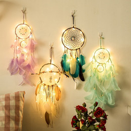 wedding bells lights NZ - Dreamcatcher LED Lighting Girl Room Bell Feather Beads Bedroom Romantic Dream Catcher Wall Hanging Car Home Décor Wedding Decorations