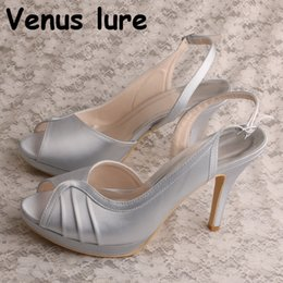 Discount orange slingback shoes - Handmade Silver Wedding Prom Bridal Shoes Sandals Slingback High Heel Satin Prom Sandals Peep Toe