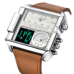 big size luxury watches 2019 - Square Watches Men LED Waterproof Two Time Zone Mens Watches Brand Luxury Big Size Male Quartz Sport Watch Relogio Mascu