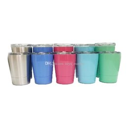 pink stainless mug NZ - 9oz 12oz Stainless Steel Cup Wine Tumblers Wine Glasses Beer Mugs Stainless Steel Wine Glass Coffee Mugs With Lid With Straw